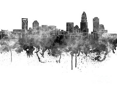 Charlotte Skyline In Black Watercolor On White Background Print by Pablo Romero