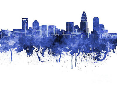 Charlotte Skyline In Blue Watercolor On White Background Print by Pablo Romero