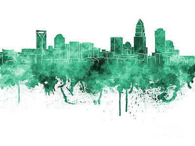 Charlotte Skyline In Green Watercolor On White Background Print by Pablo Romero