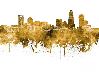 Charlotte Skyline In Orange Watercolor On White Background Print by Pablo Romero