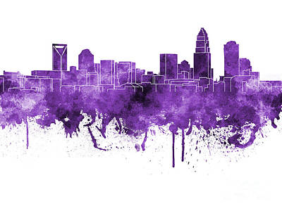 Charlotte Skyline In Purple Watercolor On White Background Print by Pablo Romero