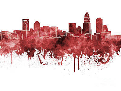 Charlotte Skyline In Red Watercolor On White Background Print by Pablo Romero
