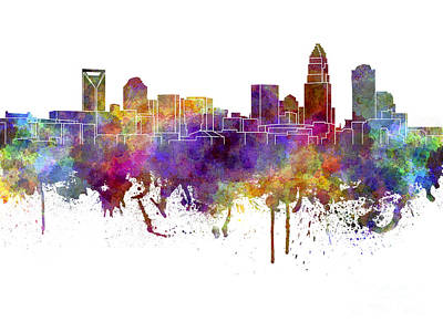 Charlotte Skyline In Watercolor On White Background Print by Pablo Romero