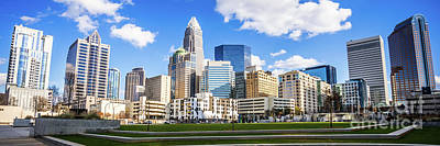 Charlotte Skyline Panorama At Romare Bearden Park Print by Paul Velgos