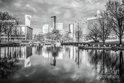 Charlotte Skyline Reflection Black And White Photo Print by Paul Velgos