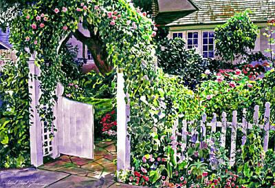 Charming Cottage Gate Print by David Lloyd Glover