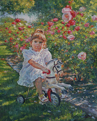 Charming Rider In Pink And Red Roses Print by Marianna Foster