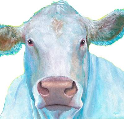 Country Style Painting - Charolais Cow Painting On White Background by Jan Matson