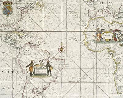 Chart Of The Atlantic Ocean Print by English School