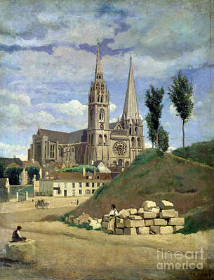 Brick Buildings Painting - Chartres Cathedral by Jean Baptiste Camille Corot
