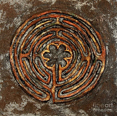 Painting - Chartres Style Labyrinth Earth Tones by Anne Cameron Cutri
