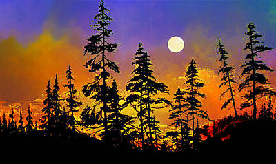 Spruce Painting - Chasing The Moon by Hanne Lore Koehler