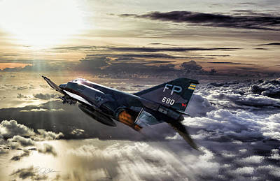 Air Ace Digital Art - Chasing The Sun Robin Olds by Peter Chilelli