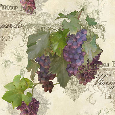 Grape Mixed Media - Chateau Pinot Noir Vineyards - Vintage Style by Audrey Jeanne Roberts