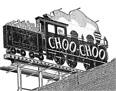 Chattanooga Choo Choo Sign In Black And White Print by Marian Bell