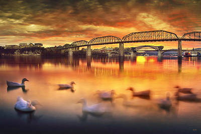 Chattanooga Sunset With Ducks Print by Steven Llorca