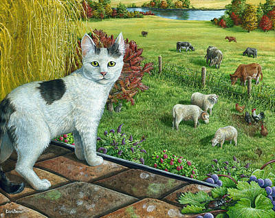 Beetle Cat Painting - Chatter In Paradise by Cara Bevan