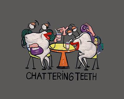 Chatter Painting - Chattering Teeth T-shirt by Anthony Falbo