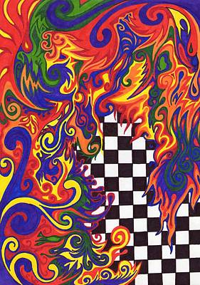 Sharpie Drawing - Checkers  by Mandy Shupp