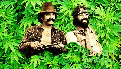 Cheech Marin And Tommy Chong Print by Pd