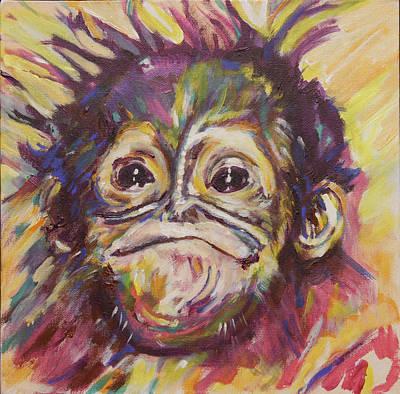 Cheeky Lil' Monkey Original by Karin McCombe Jones