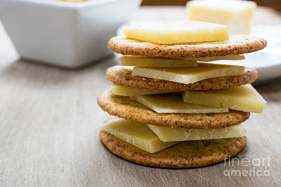 Cracker Photograph - Cheese And Crackers by Edward Fielding