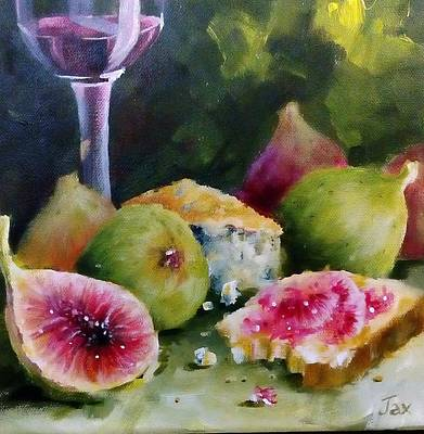 Bread And Cheese Painting - Cheese And Wine by Jacqueline Boshoff