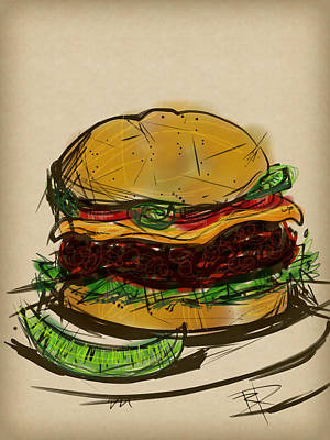 Lettuce Digital Art - Cheese Burger by Russell Pierce
