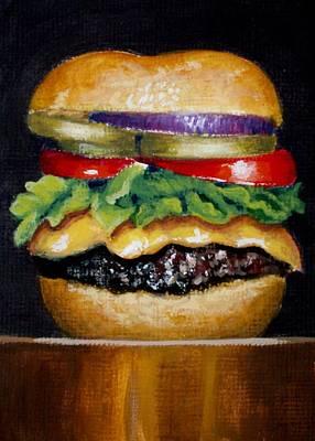 Cheeseburger Painting - Cheeseburger With Everything by Karen Hetzer