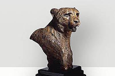 Richard Macdonald Sculpture - Cheetah Bust by Richard MacDonald