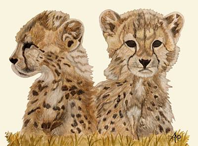 Cheetah Painting - Cheetah Cubs by Angeles M Pomata