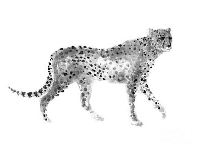 Cheetah Mixed Media - Cheetah Drawing Watercolor Art Print by Joanna Szmerdt