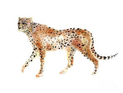 Cheetah Mixed Media - Cheetah Watercolor Minimalist Painting by Joanna Szmerdt