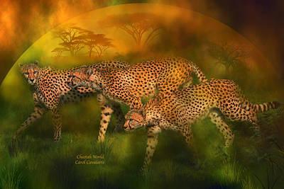 Cheetah Mixed Media - Cheetah World by Carol Cavalaris