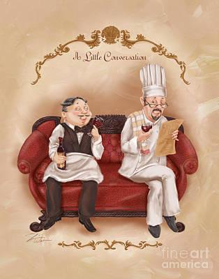 Chefs On A Break-a Little Conversation Print by Shari Warren