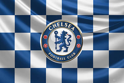 Chelsea F C - 3 D Badge Over Flag Print by Serge Averbukh