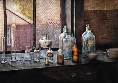 Chemist - Bottles Print by Mike Savad