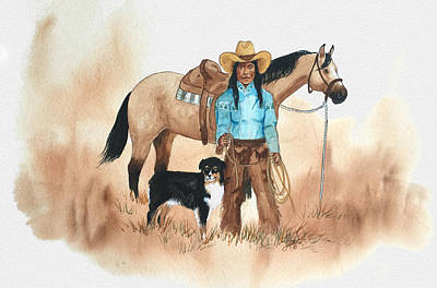 Painting - Cherokee Cowgirl by John Guthrie