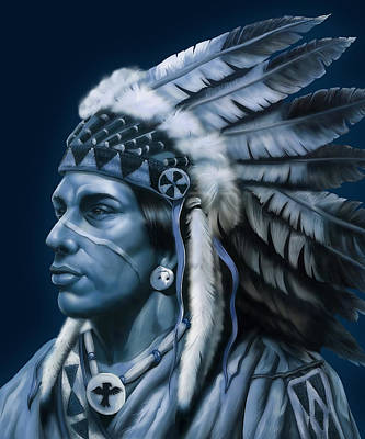 Indian Cherokee Digital Art - Cherokee Indian by Nick Freemon
