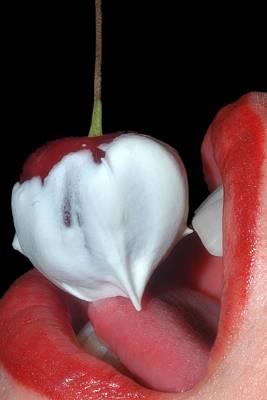 Woman Photograph - Cherries And Cream by Joann Vitali
