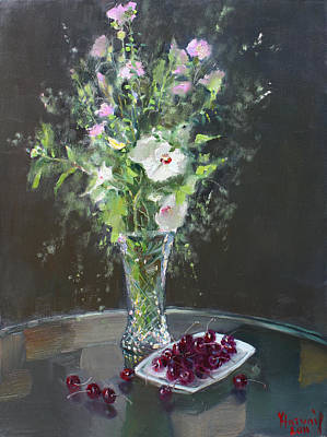 Vase Painting - Cherries And Flowers For Her IIi by Ylli Haruni