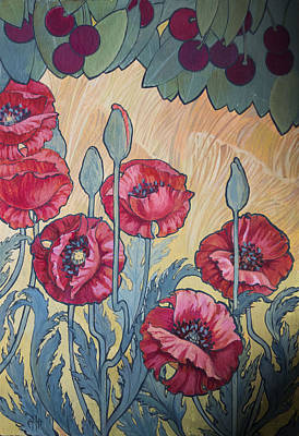 Cherries And Poppies Original by Irina Effa