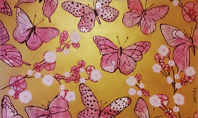 Cherry Blossoms And Butterflies In Pink Print by Tiffany La Belle