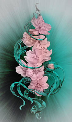 Google Drawing - Cherry Blossoms On Turquoise by Irina Effa