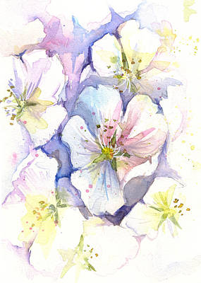 Abstract Flower Painting - Cherry Blossoms Watercolor by Olga Shvartsur
