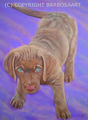 Puppy Painting - Chesapeake By The Bay by Laura Barbosa