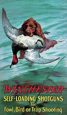 Duck Painting - Chesapeake Retriever With Duck by Unknown