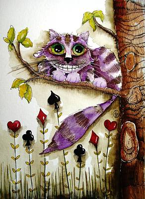 Cheshire Cat Print by Lucia Stewart