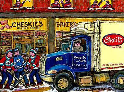 Canadiens Painting - Cheskie's Kosher Bakery On Bernard Hockey Game Near Streit's Truck Montreal Winter Snow Scene   by Carole Spandau
