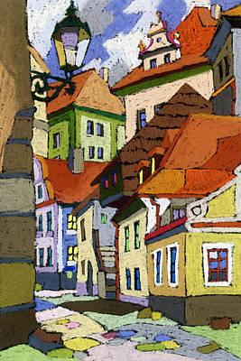 Old Street Painting - Chesky Krumlov Masna Street 1 by Yuriy  Shevchuk